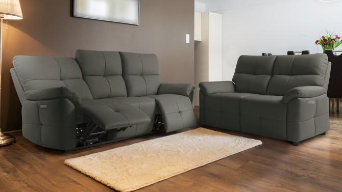 Salon canap relax lectrique design en cuir 3 2 tokyo for Salon cuir relax electrique