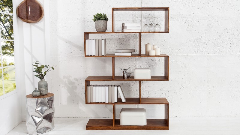 biblioth que de rangement bois massif de palissandre milos. Black Bedroom Furniture Sets. Home Design Ideas