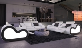 Salon complet lumineux relax en cuir 3+2+1 - Atco