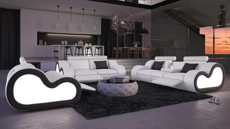 Salon cuir avec clairage canap 2 3 places fauteuil atco gdegdesign - Salon complet ...