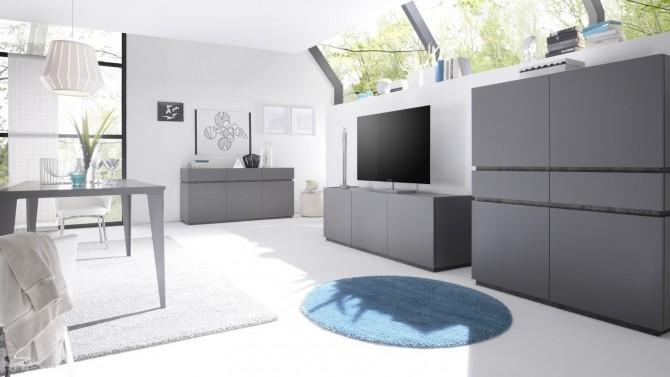 Salle à manger design et moderne gris mat laqué Ivo - GdeGdesign