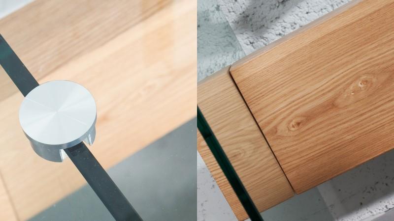 Bureau Bois Verre : Bureau droit en verre trempé transparent avec bois june gdegdesign