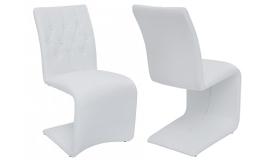 Chaise design blanche en simili cuir - Canberra