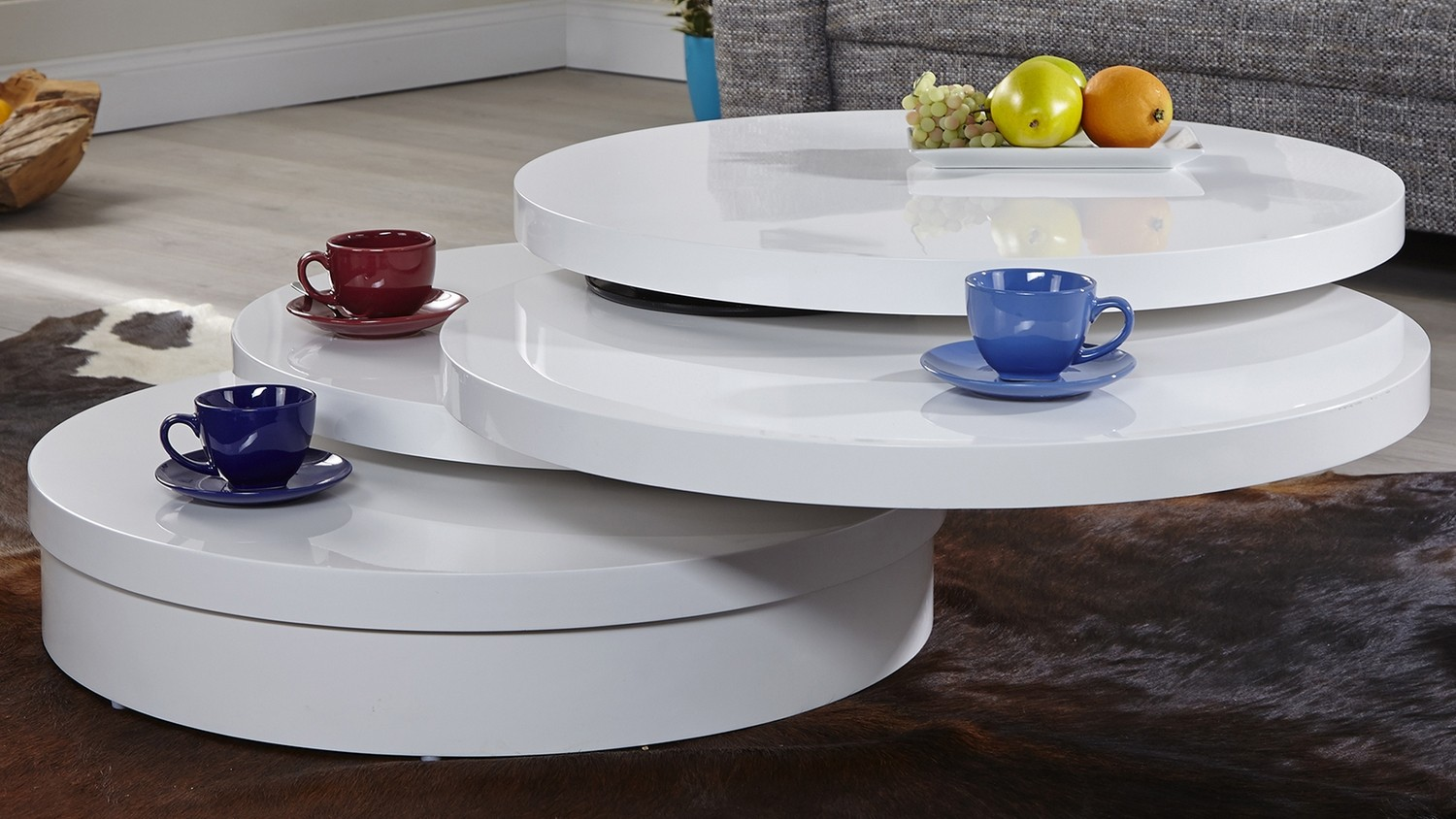 Table basse blanche ronde 3 plateaux modulables Urb - GdeGdesign