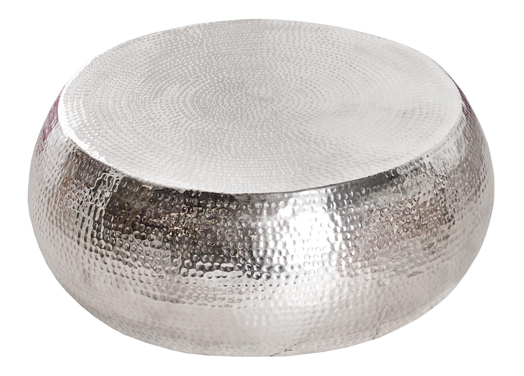 Table basse de salon style oriental ronde en métal Azaria