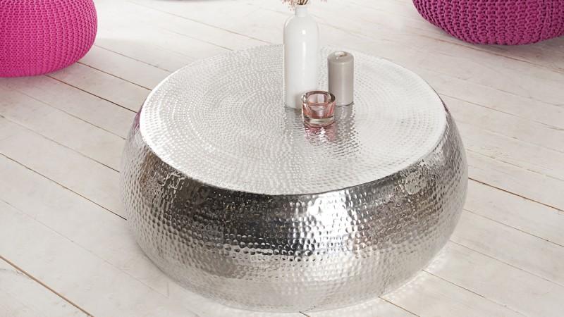 Table Basse De Salon Style Oriental Ronde En Métal Azaria Gdegdesign