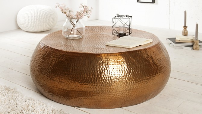Table basse de salon style oriental ronde en m tal azaria gdegdesign - Table ronde de salon ...