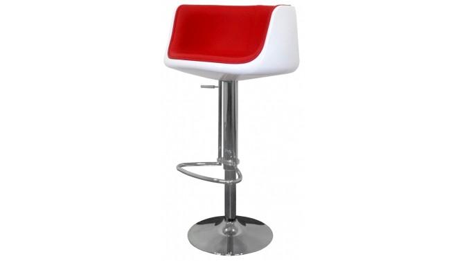 Tabouret de bar pivotant bicolore en cuir simili rouge - Genève