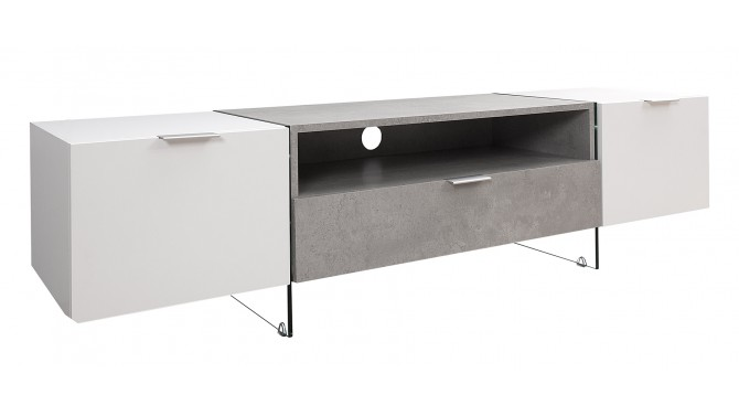 Meuble télé blanc et béton 2 portes + 1 tiroir - Solna