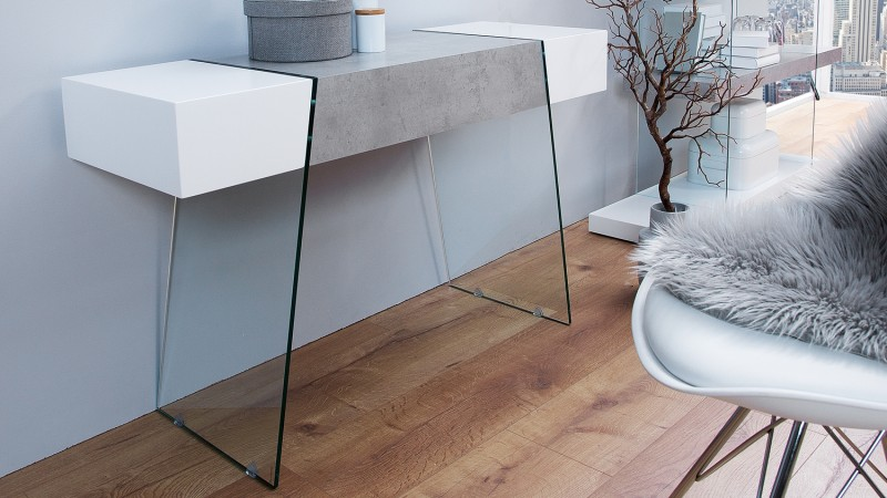 console blanc et b ton avec tiroir de rangement solna gdegdesign. Black Bedroom Furniture Sets. Home Design Ideas