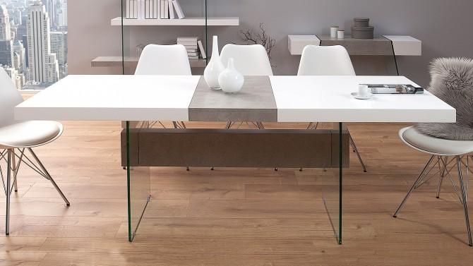 Table à manger bicolore avec allonge - Solna