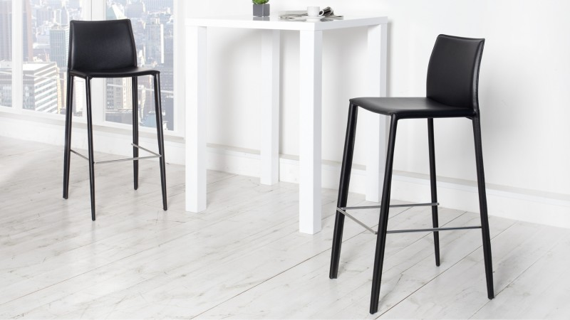 tabouret de bar design fixe en cuir v ritable paulo gdegdesign. Black Bedroom Furniture Sets. Home Design Ideas