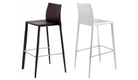 Chaise haute de bar design en cuir - Paulo