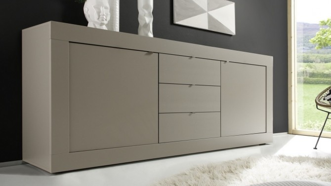 Bahut design 2 portes + 3 tiroirs taupe mat - Lernig