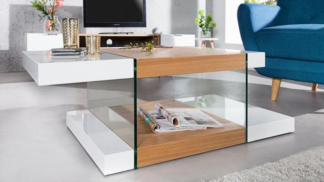 Table basse blanche et bois avec verre - Varberg