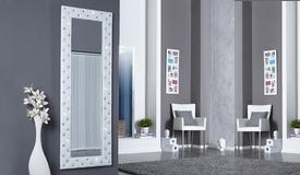 Miroir blanc baroque simili cuir strass - Paola