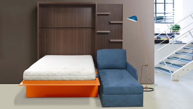 Lit escamotable 160x200 cm canapé d'angle - Joss