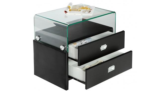 Chevet moderne 2 tiroirs simili et verre - Stan