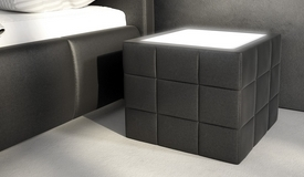 Chevet design simili cuir avec Led - Shelton