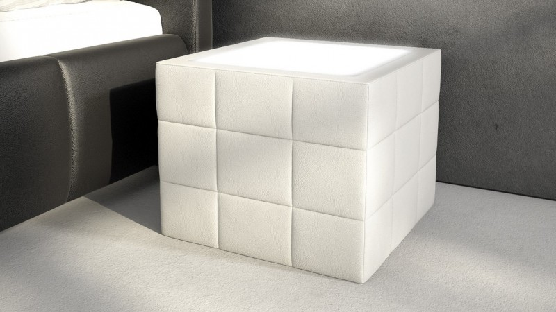 chevet lumineux en simili cuir avec clairage shelton. Black Bedroom Furniture Sets. Home Design Ideas