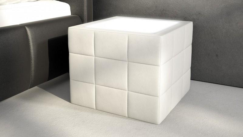 chevet lumineux en simili cuir avec clairage shelton gdegdesign. Black Bedroom Furniture Sets. Home Design Ideas