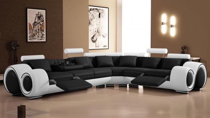 Canapé d'angle relax design en cuir - Carlson