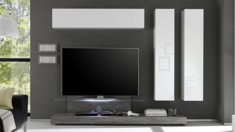 Ensemble Meuble Tv Design Led Bois Et Laque Blanc Upton Gdegdesign