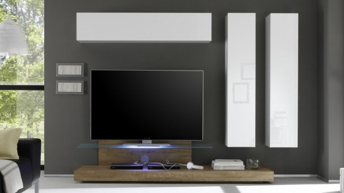 ensemble meuble tv design led bois et laqu blanc upton gdegdesign. Black Bedroom Furniture Sets. Home Design Ideas