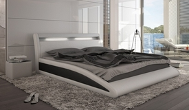 Lit cuir simili blanc et noir avec éclairage intégré - Milton