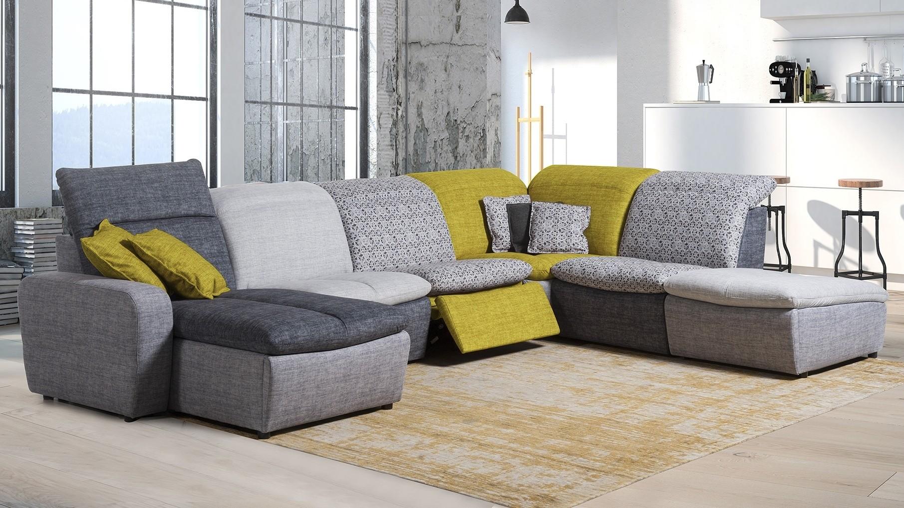 Grand canapé d\'angle modulable relax électrique tissu Art ...