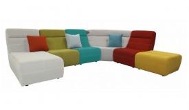 Canapé d'angle modulable multicolore en tissu - Osaka