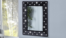 Miroir design strass velours noir - Paola