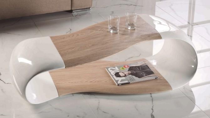 Table de salon moderne blanche et bois - Jarka
