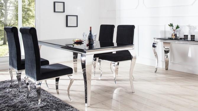 Salle à manger complète chromée et verre noir design Zita - GdeGdesign