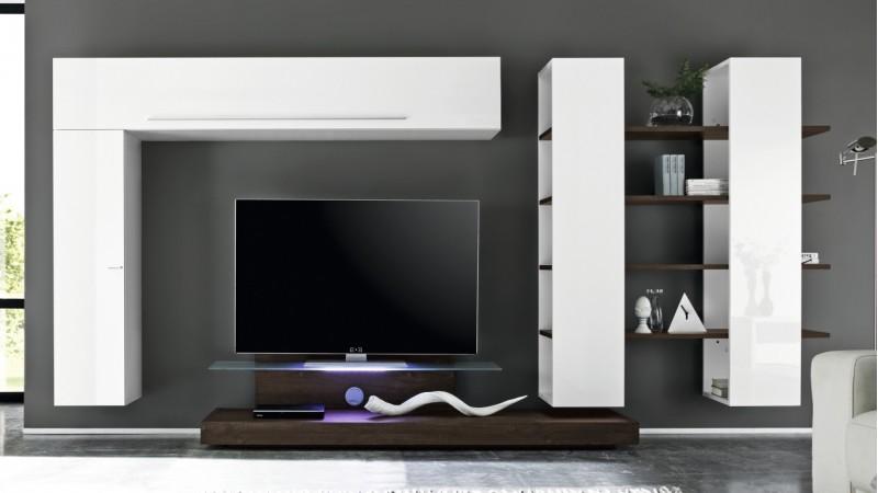 meuble tv suspendu bicolore blanc et bois weng farrell gdegdesign. Black Bedroom Furniture Sets. Home Design Ideas