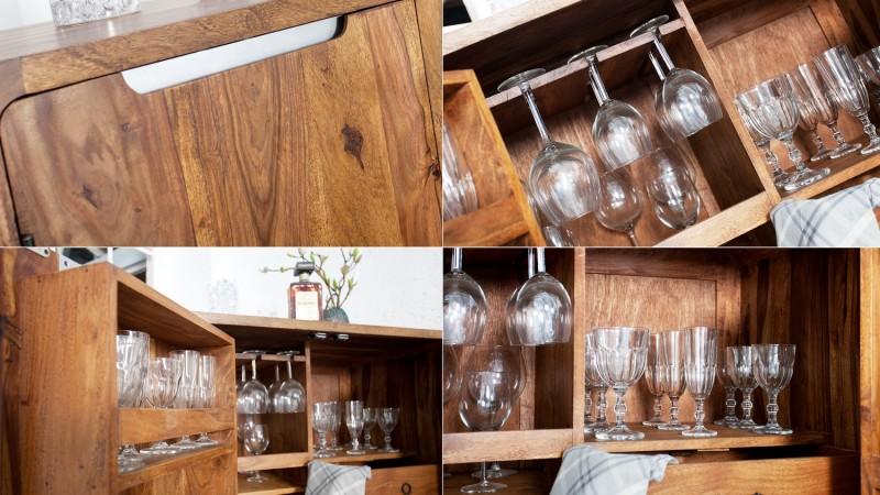 Mini bar 2 portes en bois de palissandre massif bertol gdegdesign - Mini bar table design ...