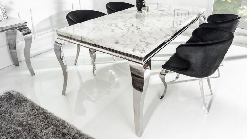 Table de salle à manger baroque plateau marbre blanc Zita - GdeGdesign