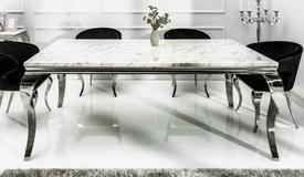 Table à manger baroque plateau marbre blanc - Zita