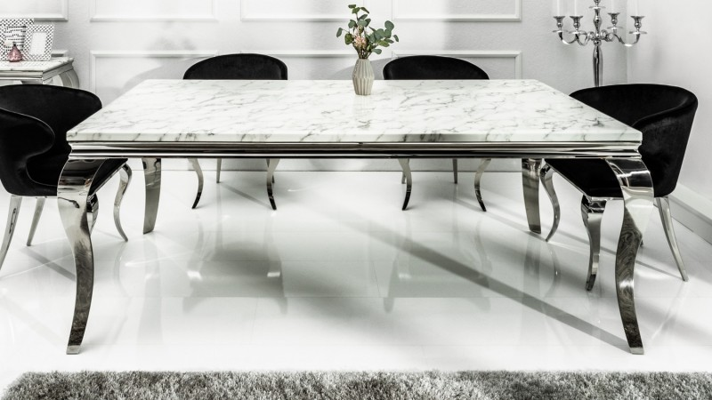 table de salle manger baroque plateau marbre blanc zita. Black Bedroom Furniture Sets. Home Design Ideas