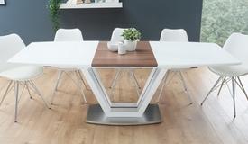 Table à manger extensible blanche et bois foncé - Onnig