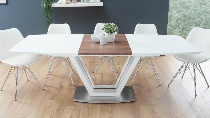 Grande table à manger extensible blanc mat et bois Onnig - GdeGdesign