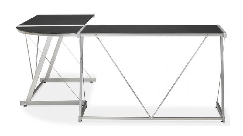 grand bureau d 39 angle design en verre noir et m tal calypso. Black Bedroom Furniture Sets. Home Design Ideas