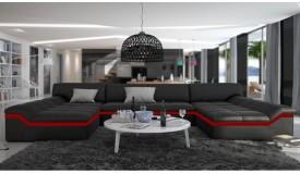 Canapé DOROG NOIR / liseret ROUGE | SIMILI CUIR