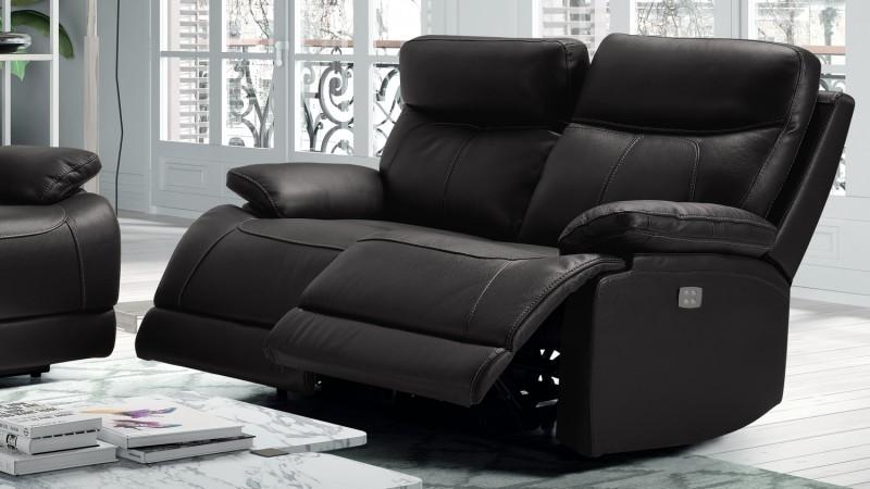 canap en cuir 2 places de relaxation lectrique l on. Black Bedroom Furniture Sets. Home Design Ideas