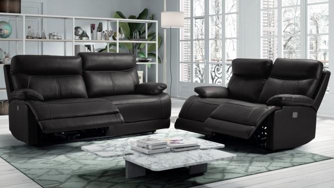 Salon relax design électrique en cuir 3+2 - Léon