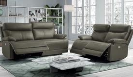 Salon relax électrique en cuir 3+2 - Léon