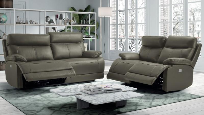Salon relax électrique en cuir 3+2+1 - Léon