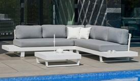 Canapé d'angle de jardin avec table basse - Nassau