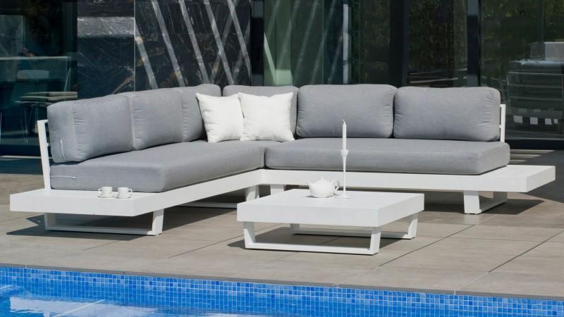 Grand salon d\'angle d\'extérieur aluminium et tissu Nassau - GdeGdesign