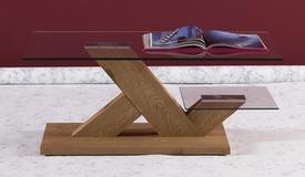 Table basse verre et bois de chêne clair - Penza